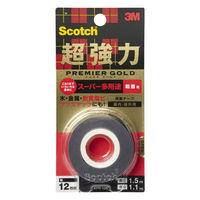 3M スコッチ(R) 超強力両面テープ プレミアゴールド スーパー多用途 粗面用 1.1mm厚 幅12mm×1.5m巻 1セット(5巻) スリーエム ジャパン