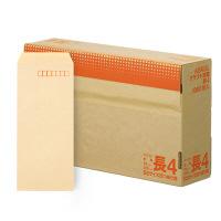アスクル オリジナルクラフト封筒 長4〒枠あり 茶 3000枚(1000枚×3箱)