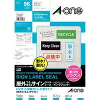 エーワン 屋外でも使えるラベルシール UV保護カバー付備品ラベルインクジェット光沢フィルム白A4 24面1セット:1袋(4セット入)×3袋 31088(取寄品)
