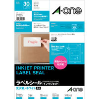 エーワン ラベルシール パッケージラベル インクジェット 光沢紙 A4 3面 白 29235 1セット:1袋(10シート入)×2袋(取寄品)