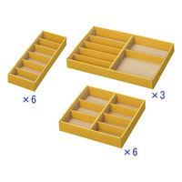 引き出し整理ボックス 薄型 高さ30mm アソート(小×6、中×6、大×3) アスクル