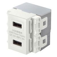 サンワサプライ 埋込USB給電用コンセント USB×2ポート TAP-KJUSB2W (直送品)