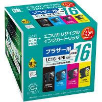 エコリカ リサイクルインク ECI-BR164P/BOX 4色パック(大容量)(アスクル限定)(ブラザー LC16-4PK互換)