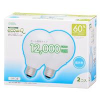 オーム電機 電球形蛍光ランプ G型60Wタイプ E26 昼光色 EFG15ED/12-2P 1箱(2個入)