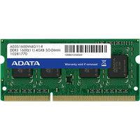 ADATA メモリ 4GB DDR3 SOーDIMM (1600) ー512x8 リテールパッケージ AD3S1600W4G11-R 1箱  (直送品)