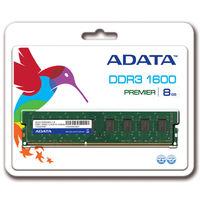 ADATA メモリ 8GB DDR3 UーDIMM (1600) ー512x8 リテールパッケージ AD3U1600W8G11-R 1箱  (直送品)
