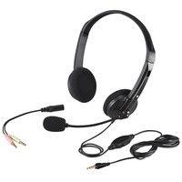 バッファロー 両耳ヘッドバンド式ヘッドセット 4極&3極プラグ 大型ドライバー搭載 ブラック BSHSHCS01BK 1台  (直送品)