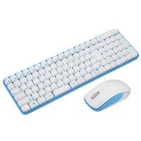 ユニーク ワイヤレスマウス&キーボードコンボ サイレントモデル White&Blue MK48367GW 1個  (直送品)