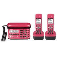 パイオニア デジタルコードレス留守番電話機(子機2台) チェリーピンク TF-SD15W-CP 1個  (直送品)