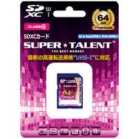 SuperTalent UHSーI SDXCメモリーカード 64GB Class10 ST64SU1P 1個  (直送品)