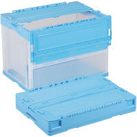 軽量折りたたみコンテナ CSS61NR ブルー透明 ACCN575 1セット(10個) 岐阜プラスチック工業 (直送品)
