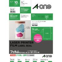 エーワン ラベルシール パッケージラベル レーザープリンタ つや消しフィルム 透明 A4 ノーカット1面 1袋(10シート入) 28428(取寄品)