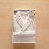 田中産業 今治ベーシック仕様バスローブ メンズ用Mサイズ ホワイト ASTN593775 1箱(1着入) (直送品)