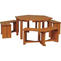 タカショー ウッディーガーデン六角テーブル&ベンチセット WEF-150N (直送品)