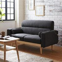 後藤家具物産 2.5Pソファ グレー ダブルコンセント付 クッション2個付 SO-20gy 1脚 (直送品)