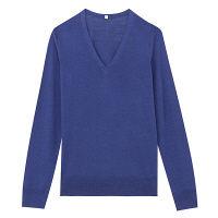 無印 Vネックセーター 婦人 L ブルー