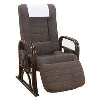 ファミリー・ライフ 籐リクライニング立ち座り安心座椅子 フットリクライニング付き ハイタイプ 1脚 (直送品)
