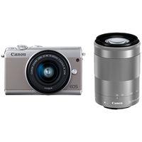 キヤノン ミラーレスカメラ EOS M100・ダブルズームキット (グレー) 2211C024 1台  (直送品)
