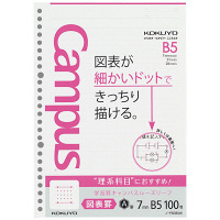 コクヨ 学習罫キャンパスルーズリーフ B5 図表罫7mm 1セット(1000枚:100枚入×10袋) ノ-F836AK(直送品)