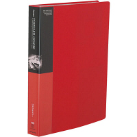 コクヨ ポストカードホルダー 固定式 A4-S 200ポケット 赤 ハセ-230NR 1セット(4冊)(直送品)