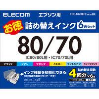 エレコム エプソン用80/70詰め替えインクキット THE-8070KIT 1パック 6色