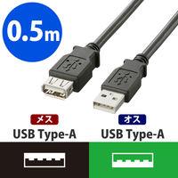 エレコム USB2.0延長ケーブル/A-Aメスタイプ/ノーマル/0.5m/ブラック U2C-E05BK 1個