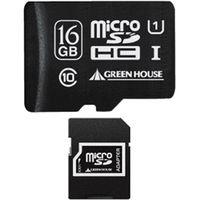 グリーンハウス microSDHCカード(アダプタ付属) 16GB UHSーI Class10 GH-SDMRHC16GU 1枚  (直送品)