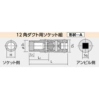 日立工機 十二角ダクト用ソケット組 12mm 65L 四角寸法9.5 00996148 (直送品)
