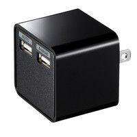 サンワサプライ USB充電器(2ポート・合計3.4A・ブラック) ACA-IP39BK
