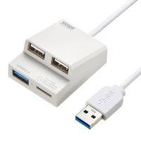 サンワサプライ USB3.0+USB2.0コンボハブカードリーダー付き(ホワイト) USB-3HC315W 1個 (直送品)