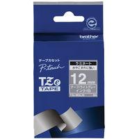 ブラザー ピータッチテープ 12mm ラミネート ライトグレーテープ(白文字) 1個 TZe-MQL35