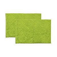イケヒコ バスマット 洗える 吸水 速乾 無地 『クリア』 グリーン 2枚セット 50×75cm 3440780(直送品)