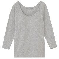 シルク入りカップ入り八分袖Tシャツ