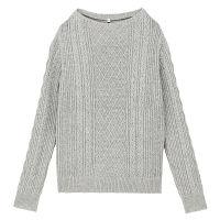 無印 ケーブル柄セーター 婦人L グレー