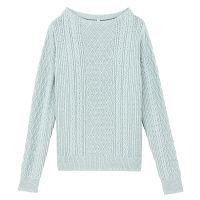 無印 ケーブル柄セーター 婦人L ブルー