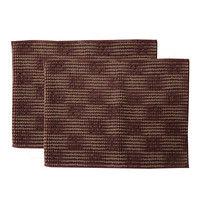 イケヒコ バスマット 洗える吸水 マイクロファイバー『さらり美人2』 ブラウン 2枚セット 約45×60cm