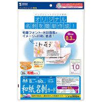 サンワサプライ インクジェット和紙名刺カード JP-MCWASHI 1個 (直送品)