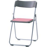 サンケイ 折りたたみ椅子 スチール製 CF68-MX 背座PP樹脂 座パッド付き 座面ローズ×背面グレー 1脚 (直送品)