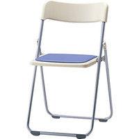 サンケイ 折りたたみ椅子 スチール製 CF68-MX 背座PP樹脂 座パッド付き 座面ブルー×背面アイボリー 1脚 (直送品)