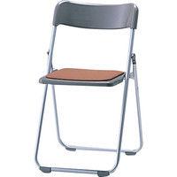 サンケイ 折りたたみ椅子 スチール製 CF68-MY 背座PP樹脂 座パッド付き 座面ブラウン×背面グレー 1脚 (直送品)