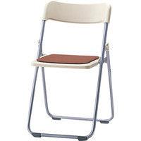 サンケイ 折りたたみ椅子 スチール製 CF68-MY 背座PP樹脂 座パッド付き 座面ブラウン×背面アイボリー 1脚 (直送品)