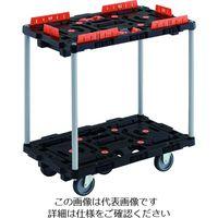 TRUSCO 連結式樹脂製2段台車 ビートル 700X450 自在3輪 柵付 ハンドルなし BT720KJ3-E100 206-3393(直送品)
