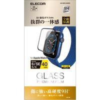 アップルウォッチ ガラスフィルム SE/6/5/4(40mm) 硬度9H 指紋防止 ブラック AW-20SFLGGRBK エレコム 1個(直送品)