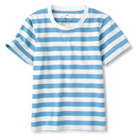 無印良品 インド綿天竺編みTシャツ キッズ 130 ブルーボーダー 良品計画