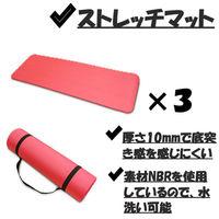 3枚 ヨガマット 赤 ストレッチ マット 10mm トレーニング エクササイズ(直送品)