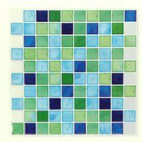 エス・ティー・イー タイルステッカー モザイクタイル スクエアブルー/グリーン 2枚入 ITL005 1セット(4枚:2枚×2セット)(直送品)