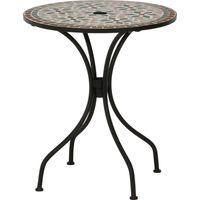 不二貿易 モザイクテーブル 幅610×奥行610×高さ695mm 花柄 10657 1台(直送品)