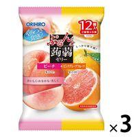 ぷるんと蒟蒻ゼリーパウチ ピーチ+ピンクグレープフルーツ 3個 オリヒロ 栄養補助ゼリー