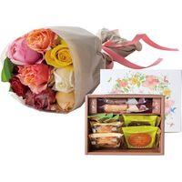 アデリー ホシファーム バラブーケミックス8本&森の庭 森の焼き菓子フラワーリース9個 MRI-10+RB-M8 1箱(直送品)