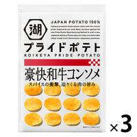 湖池屋 KOIKEYA PRIDE POTATO(湖池屋プライドポテト) 豪快和牛コンソメ 3袋 ポテトチップス スナック菓子